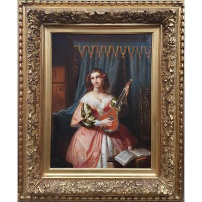 Gustave WAPPERS (Attribué à) - La joueuse de mandoline