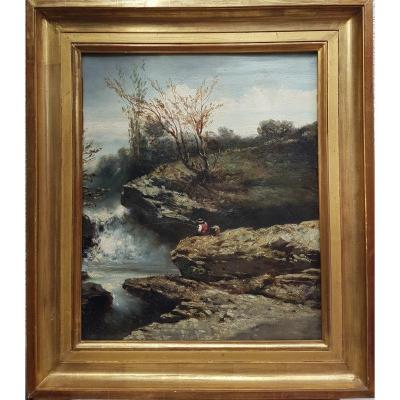 Mid-19th Century French School - The Little Fisherman Near The Waterfall