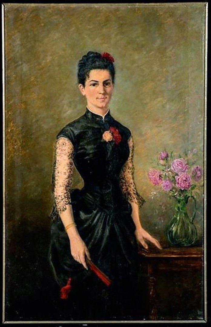 Portrait 'Dame A La Robe Noire' - Ecole Française - XIXème Siècle