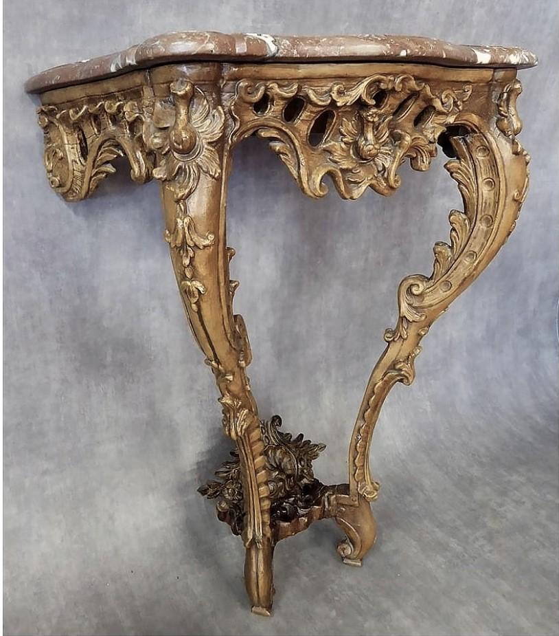 Console En Bois Mouluré Et Sculpté - Epoque Louis XV