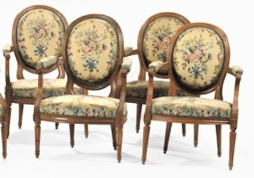 Stamped I. Nadal - Suite Of 4 Armchairs In Natural Wood - 18th Century