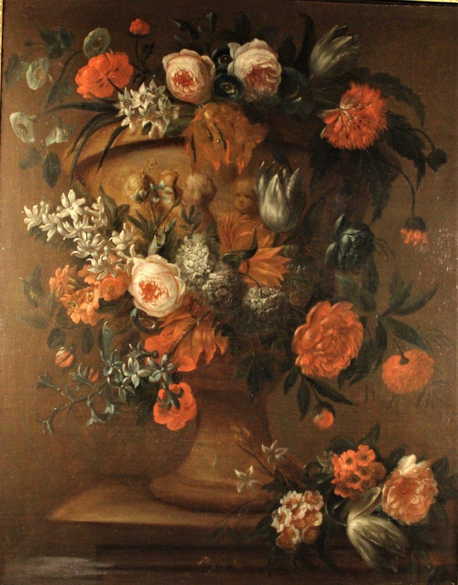 VAN Der BEKEN - Vase De Fleurs Sur Un Entablement - Huile Sur Toile - vers 1730