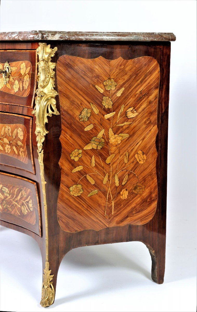 """Stamped """"j. Birckle"""" - Commode In Floral Marquetry - Louis XV Period-photo-4"""