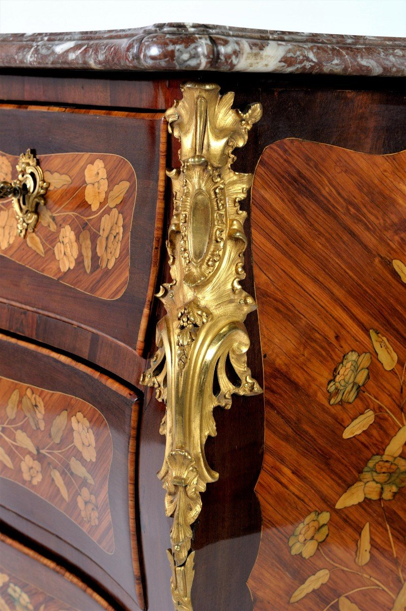 """Stamped """"j. Birckle"""" - Commode In Floral Marquetry - Louis XV Period-photo-1"""