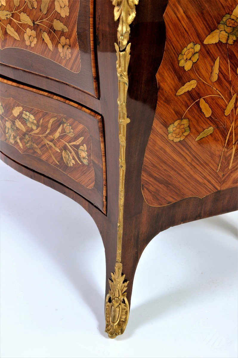 """Stamped """"j. Birckle"""" - Commode In Floral Marquetry - Louis XV Period-photo-2"""