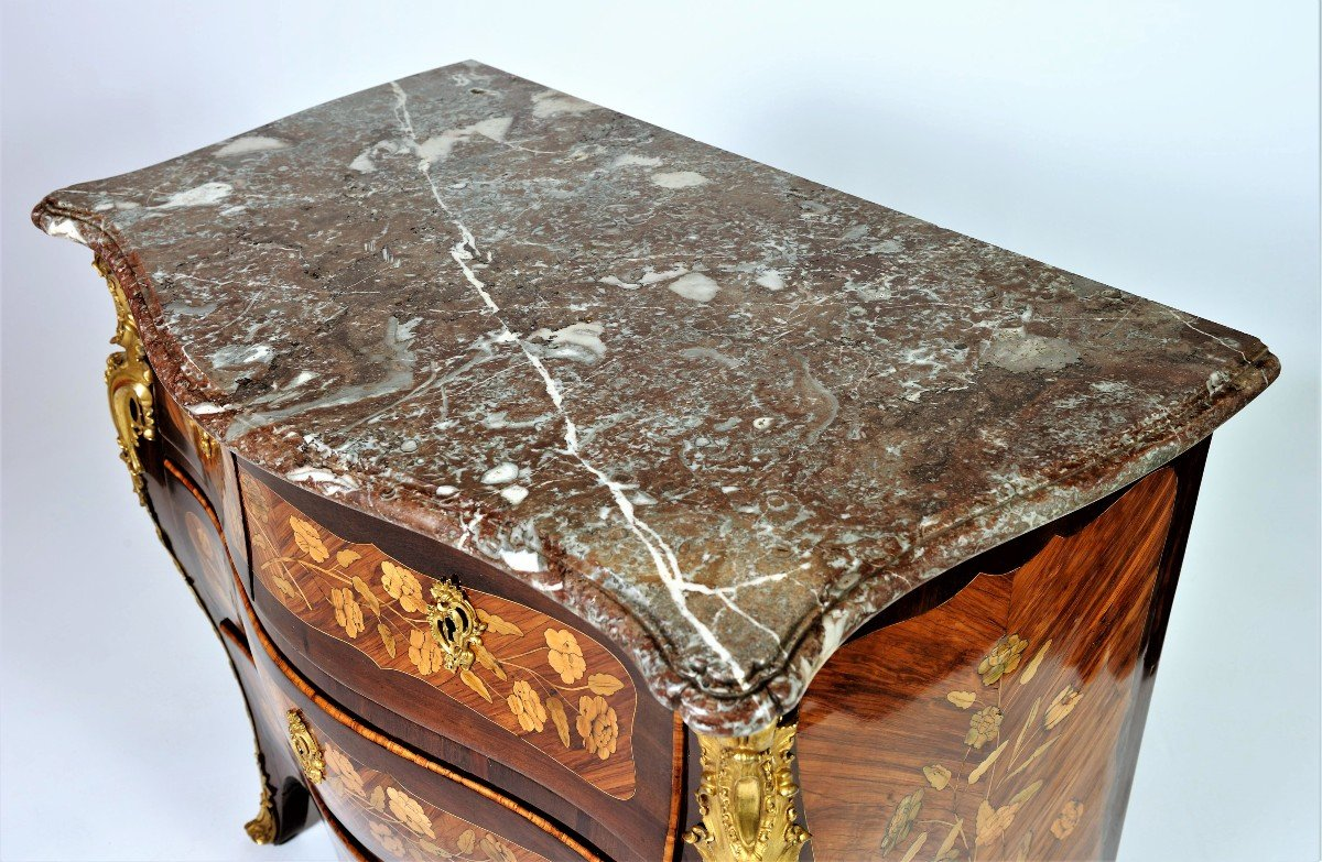 """Stamped """"j. Birckle"""" - Commode In Floral Marquetry - Louis XV Period-photo-3"""