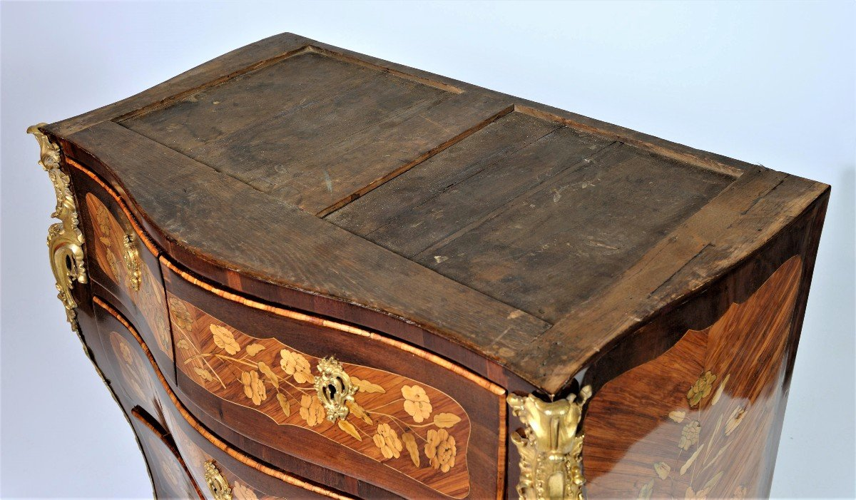 """Stamped """"j. Birckle"""" - Commode In Floral Marquetry - Louis XV Period-photo-6"""
