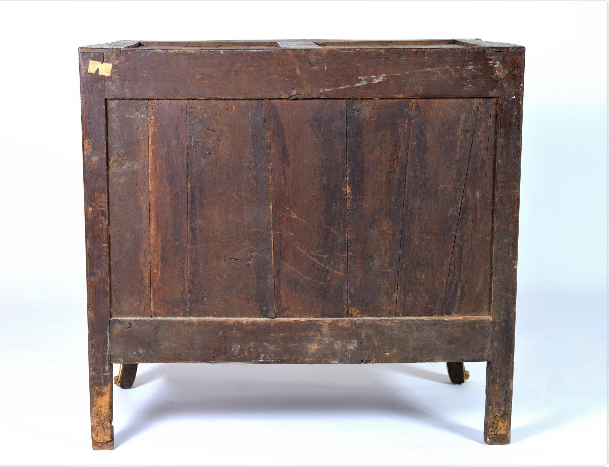 """Stamped """"j. Birckle"""" - Commode In Floral Marquetry - Louis XV Period-photo-7"""