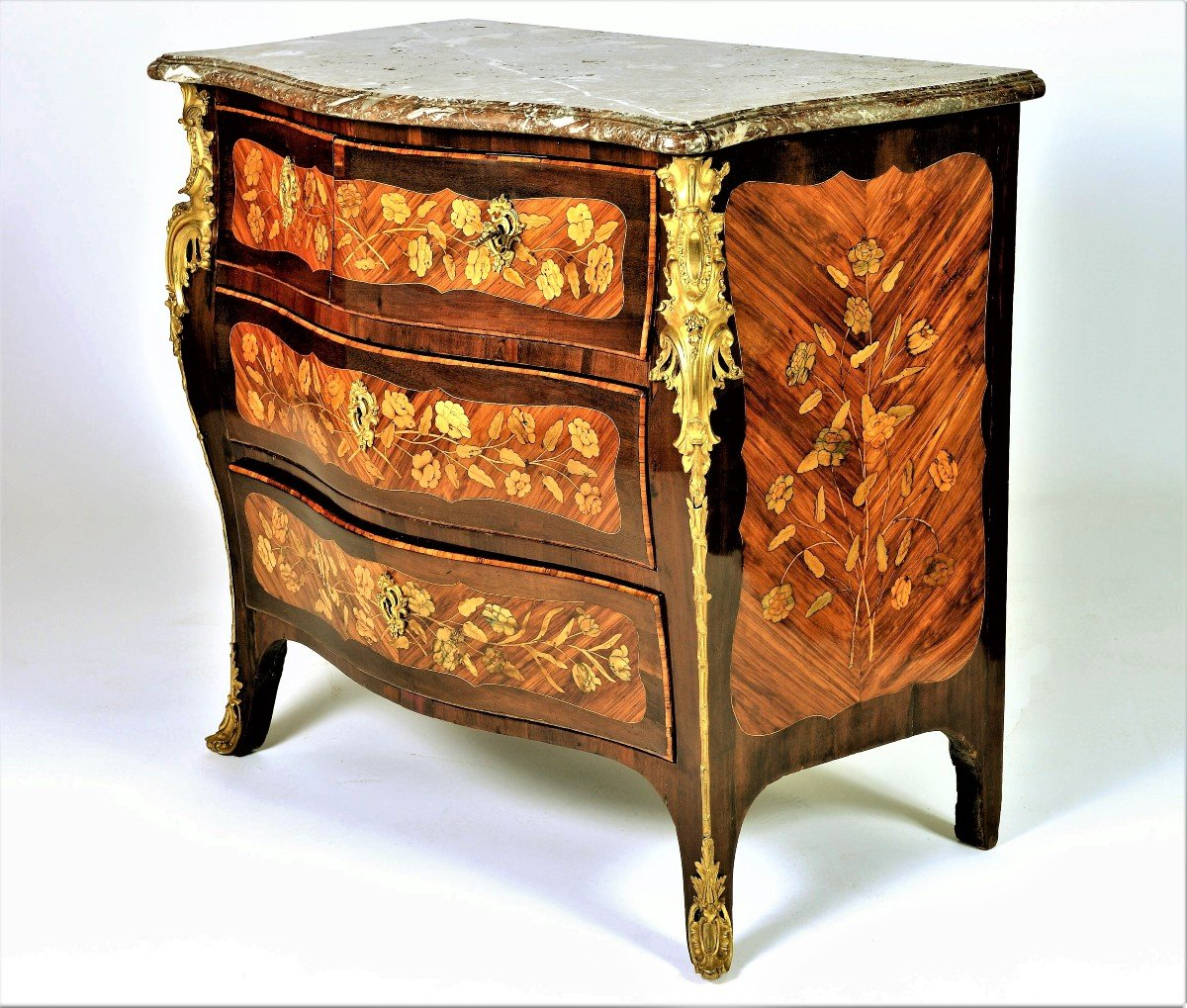 """Stamped """"j. Birckle"""" - Commode In Floral Marquetry - Louis XV Period"""