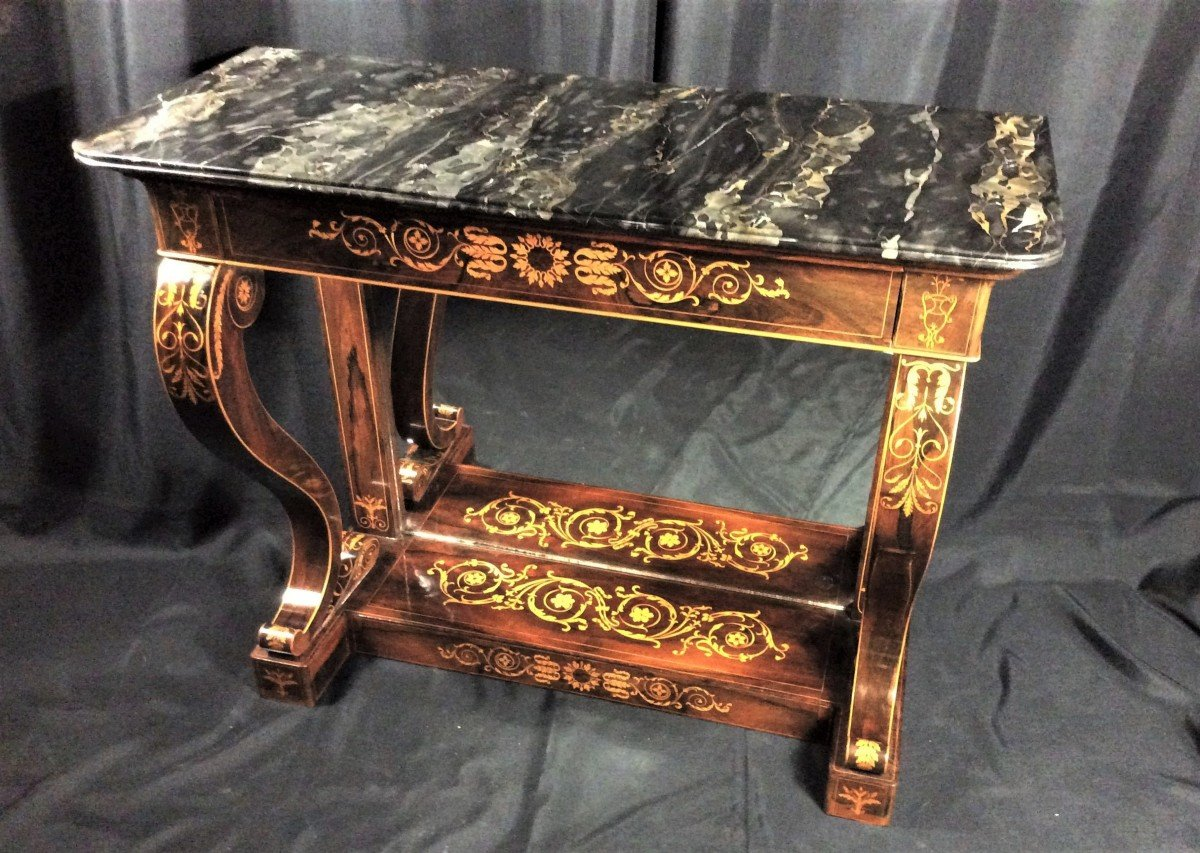 Stamped Jacob - Beautiful And Rare Console In Rosewood - Charles X Period-photo-2