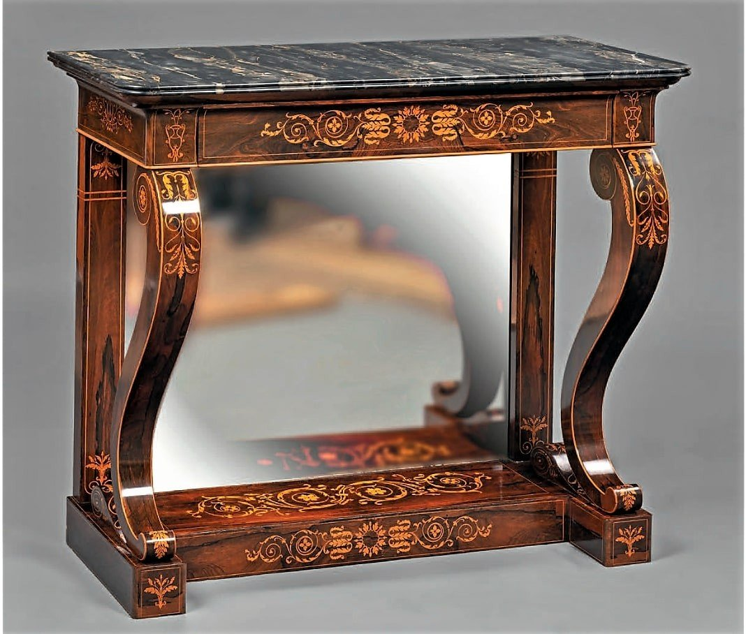 Stamped Jacob - Beautiful And Rare Console In Rosewood - Charles X Period