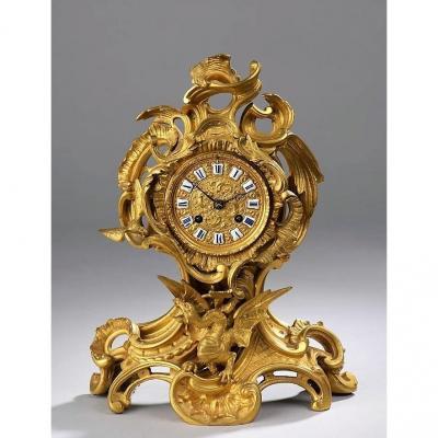 Belle Pendule En Bronze Doré - Epoque Napoléon III -