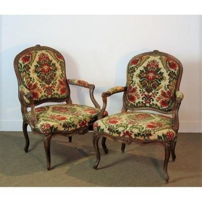 Stamped Amand, Pair Of Armchairs In The Queen - XVIII