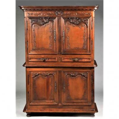 Buffet Two Corps Louis XIV In Carved Oak - Late Seventeenth