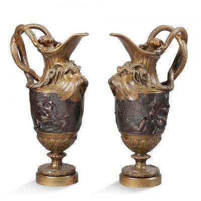Pair Of Ewers In Gilt Bronze And Patinated Bronze - XIXth Century
