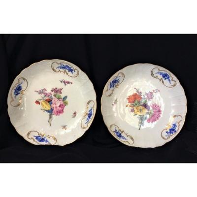 Meissen - Paire De Compotiers En Porcelaine - Fin XVIII ème Siècle