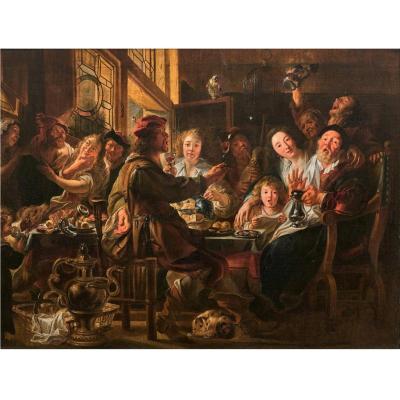 """""""Le Roi Boit ..."""" - Huile sur toile - Jacob Jordaens - 17ème siècle"""