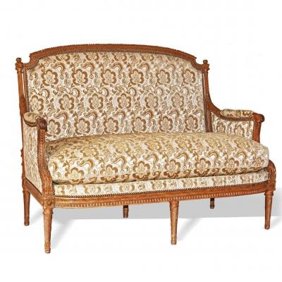 Stamped Delayement - Small Sofa In Natural Wood - Louis XVI Period