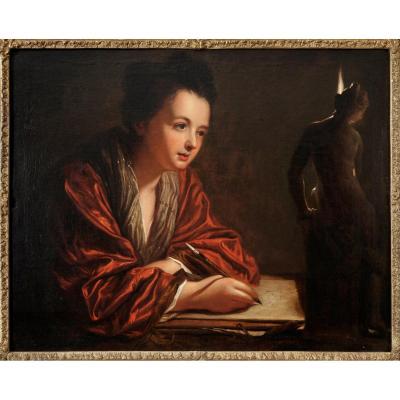 """a La Bougie ..."" - Oil On Canvas - Jean Baptiste Santerre - Late 17th Century"