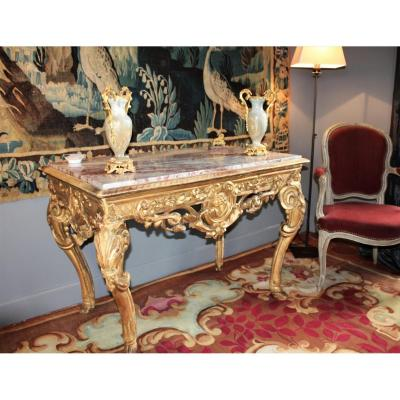 Table Or Middle Console In Golden And Carved Wood - Regency Period