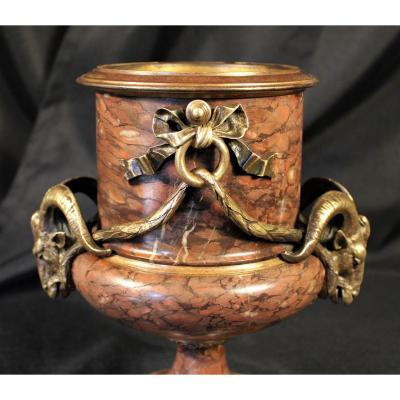 Vase Medicis En Marbre Et Bronze Patiné - XIXème Siècle