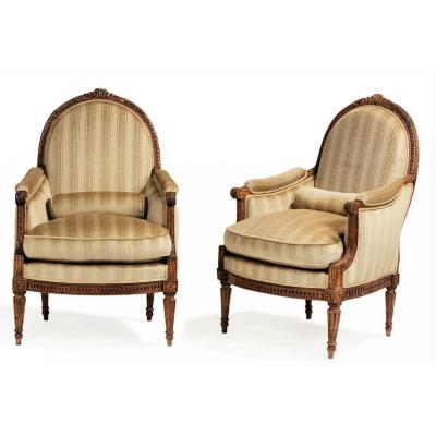 Stamped Dupain - Beautiful Pair Of Bergeres With Flat Back - Louis XVI Period