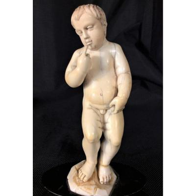 Standing And Naked Child In Ivory - 18th Century