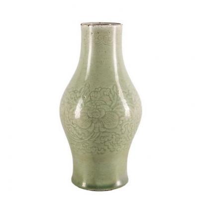 Vase En Porcelaine émaillée Céladon - Dynastie Quing - Fin XVIIIème
