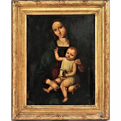 Le Pérugin (atelier) - Vierge à l'Enfant - Huile Sur Panneau - Fin XV ème Siècle