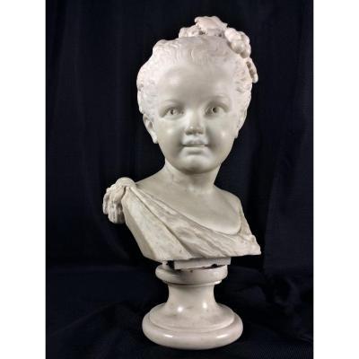 Beau Buste De Jeune Fille En Marbre Blanc - 19ème Siècle