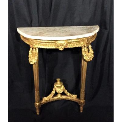 Console Demi-lune En Bois Doré - Epoque Louis XVI