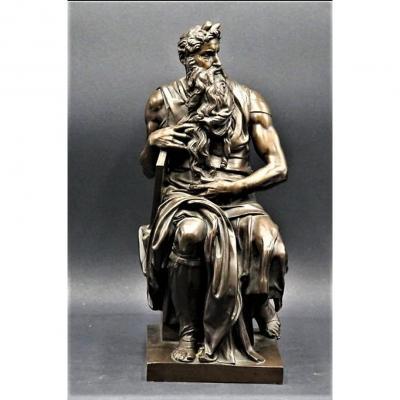 Moïse Et Les Tables - Sculpture En Bronze Patiné  - Achille Collas - XIXème Siècle