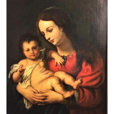 """""""Antoine van DYCK"""" - Vierge à l'Enfant - Huile sur toile - Ecole du XVIIème"""