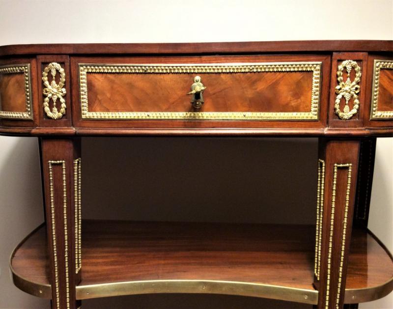 « Estampillée F. I. Papst » - Splendide Console Oblongue En Acajou – Epoque Louis XVI – 18ème S-photo-4