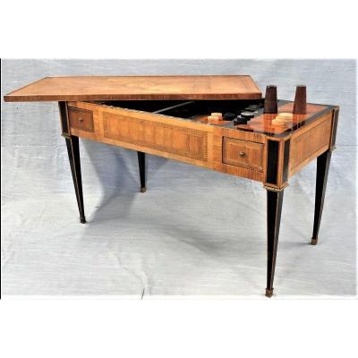 Estampillée « B. Butte » - Table A Jeux Dite « Tric-trac » - Epoque Louis XVI