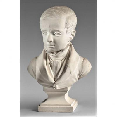 Dantan Le Jeune - Buste d'Enfant En Plâtre - Signé 1837