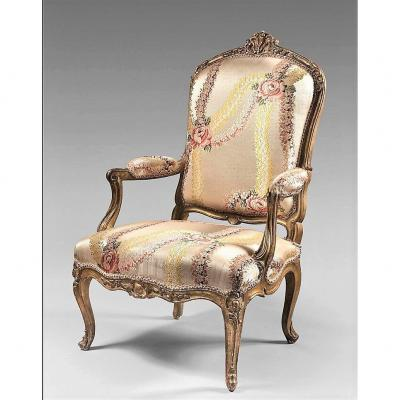 """Stamped  """"cresson"""" - - Queen's Armchair In Gilded And Carved Wood - Louis XV Period"""