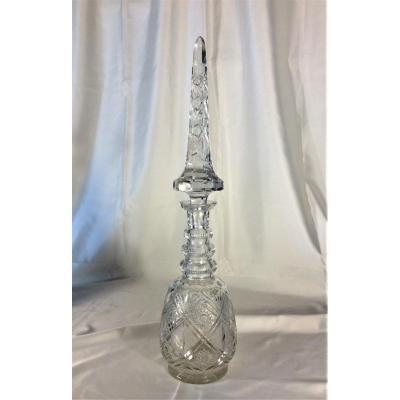 Imposant Flacon En Cristal - 19ème Siecle.