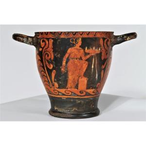 4th Century Before J. C - Red Figure Terracotta Skyphos On Black Background
