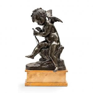 """Charles Gabriel Sauvage Known As """"lemire"""" - Angelot With The Arc - 19th Century Bronze"""