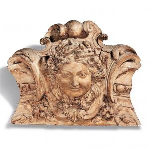 Decorative Element In Plaster Carved In Bas Relief - Early Nineteenth