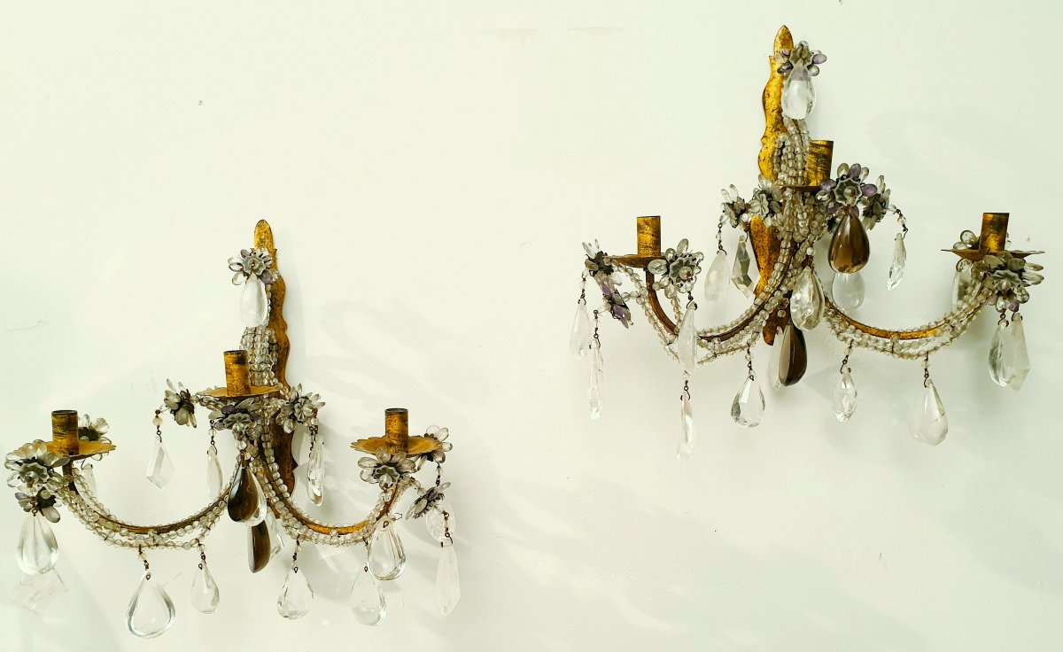 Pair Of Rock Crystal Wall Lights With Amethyst Cristals, Gilted Iron , Italy 19th