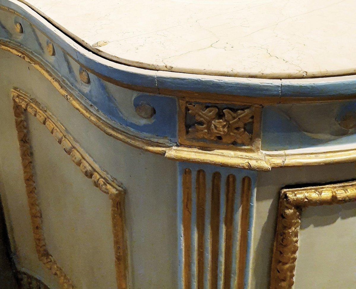 Commode piémontais de l'époque transition peinte et dorée. Marbre d'origine ivoire, Turin 1780-photo-1