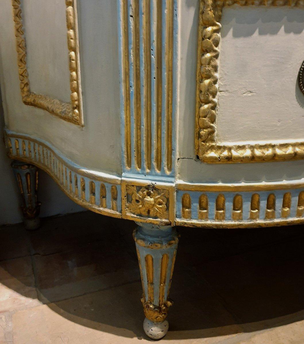 Commode piémontais de l'époque transition peinte et dorée. Marbre d'origine ivoire, Turin 1780-photo-2