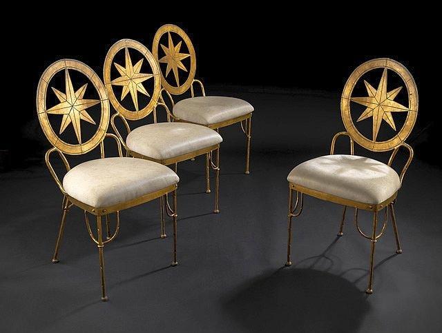 Suite de quatres chaises en fer forgé et doré, Italie, années 1970