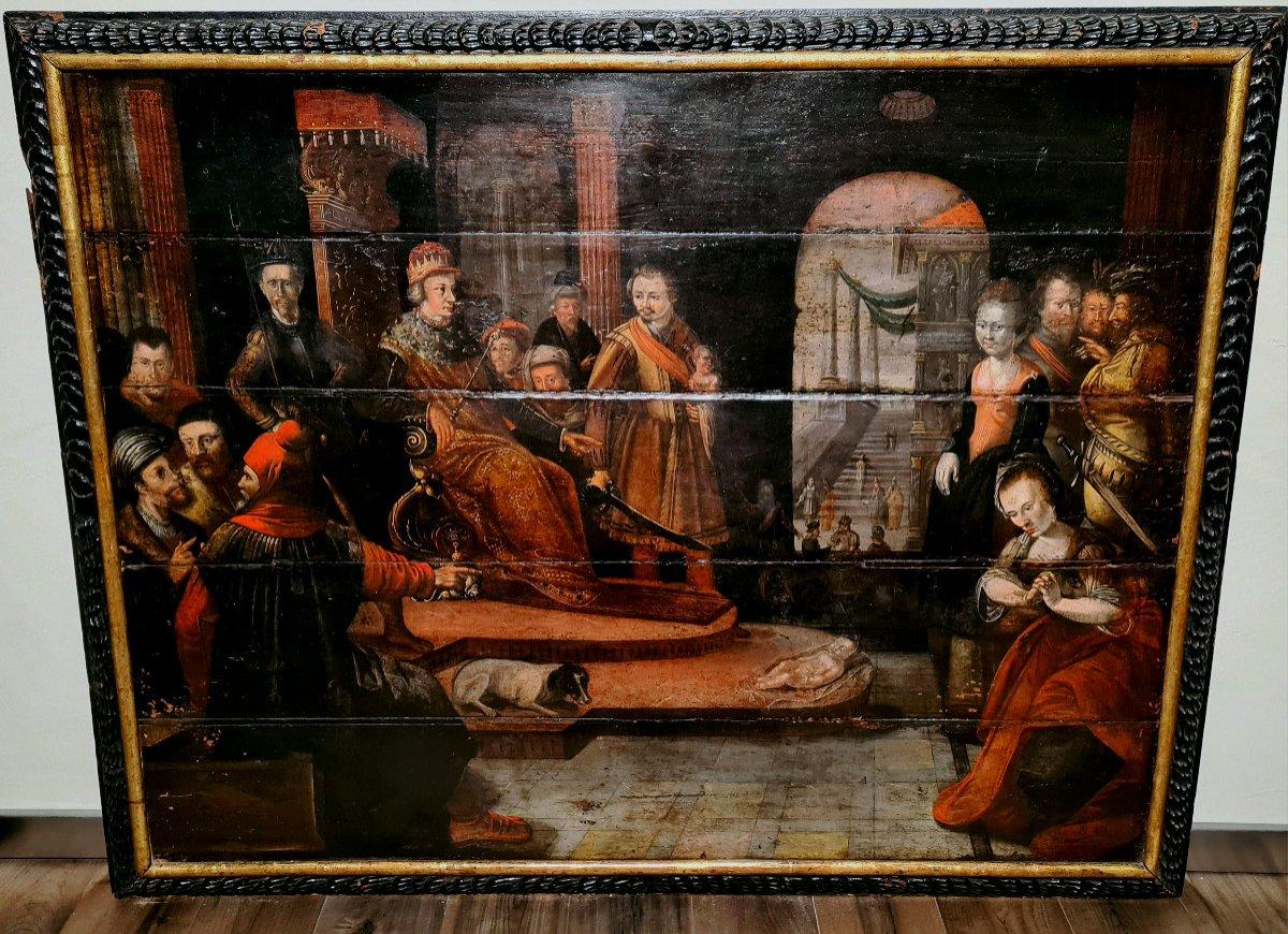 """Grand tableau de l'époque baroque, """"le verdict de salomon"""", Allemagne du sud, 17ième"""
