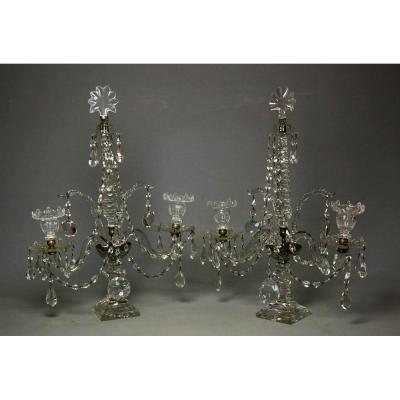 A Rare Pair Of Cutglass Candelabras Attr. William Parker, London, Late 18th,
