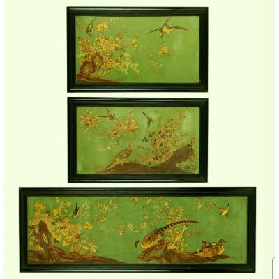 Three Panels In Lacque From China, Golden Painting With Birds And Trees, France, 19th Century