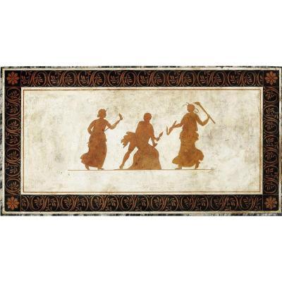 Plateau Scagliola en style grèque, décorée avec trois figures émotives, Naples moitié 19ième