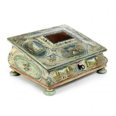 Rare Writing Cassette Painted With Architectural Vedutes, Venice Circa 1760